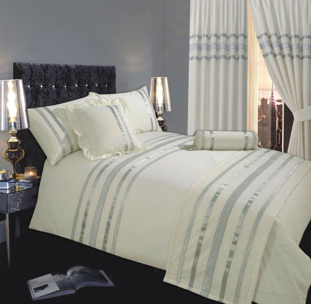 CREAM  SILVER COLOUR STYLISH SEQUIN DUVET COVER LUXURY